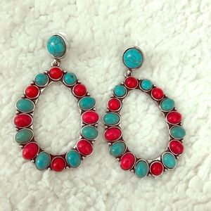 Turquoise and coral oval shaped earrings